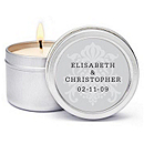 Personalized Soy Candle Favors - Regal (Silver)