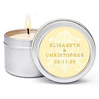 Personalized Soy Candle Favors - Regal (Yellow)