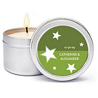 Personalized Soy Candle Favors - Stars (Green)