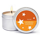 Personalized Soy Candle Favors - Stars (Orange)