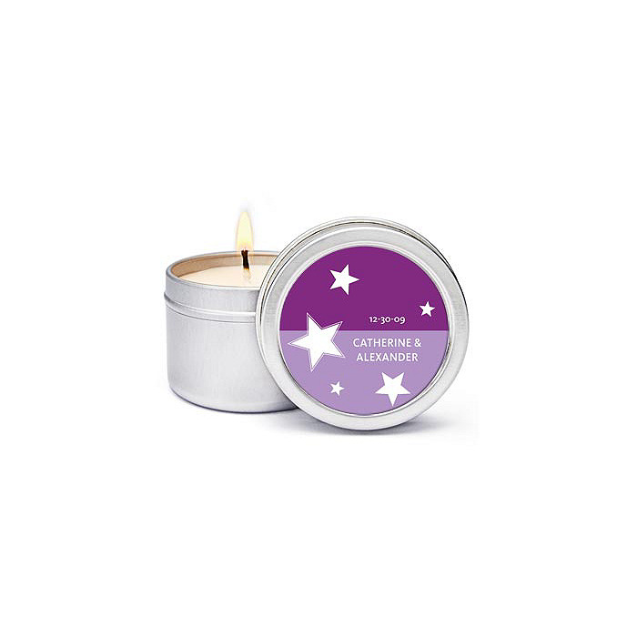 Personalized Soy Candle Favors - Stars (Purple)