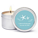 Personalized Soy Candle Favors - Starfish (Blue)