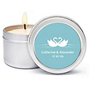 Personalized Soy Candle Favors - Swans (Blue)