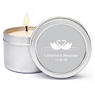 Personalized Soy Candle Favors - Swans (Silver)