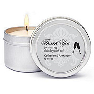 Personalized Soy Candle Favors - Toasting Flutes (Silver)