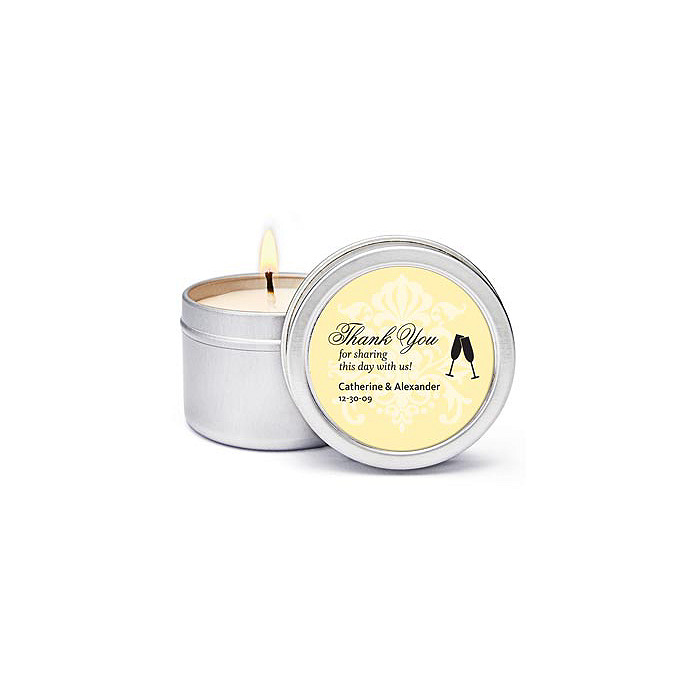 Personalized Soy Candle Favors - Toasting Flutes (Yellow)