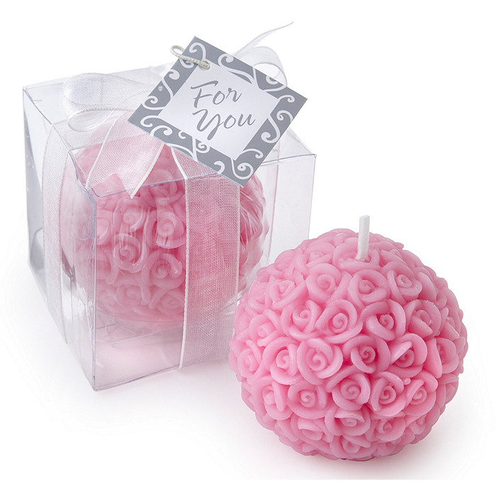 Elegant Rose Ball Candle Favor
