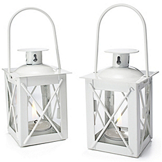 Mini Lantern Tealight Holder - White