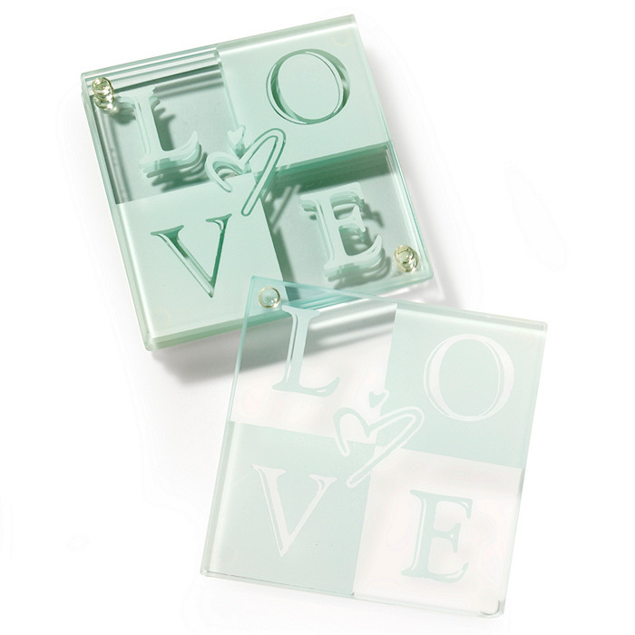 LOVE Glass Coaster Favor Set