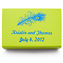 Personalized Matchboxes - Peacock Feather