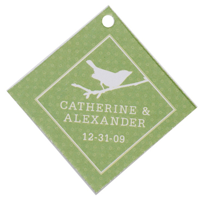 Personalized Favor Tags - Bird (Grass)