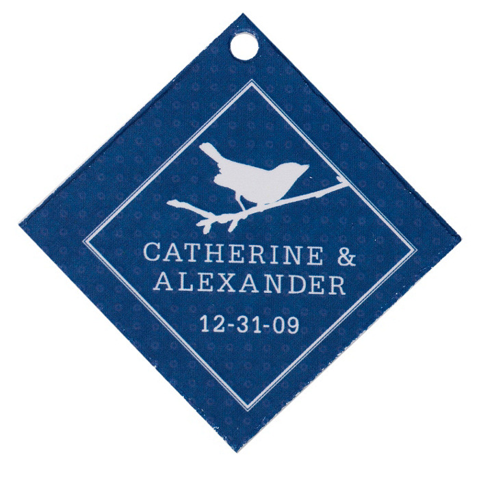 Personalized Favor Tags - Bird (Navy)
