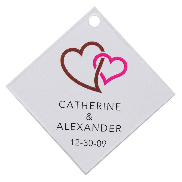 Personalized Favor Tags - Double Heart (Brown)