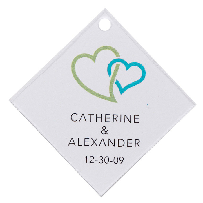 Personalized Favor Tags - Double Heart (Green)