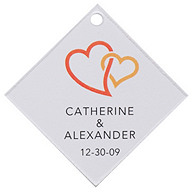 Personalized Favor Tags - Double Heart (Orange)