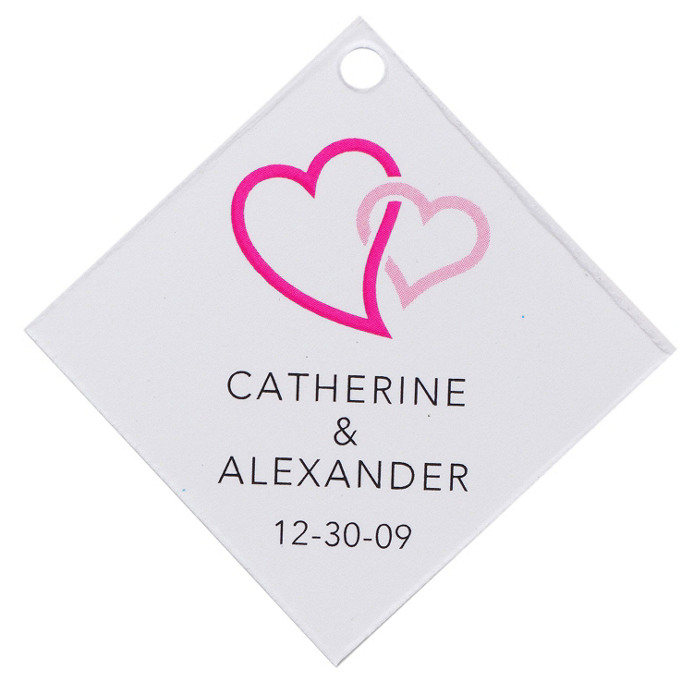 Personalized Favor Tags - Double Heart (Pink)