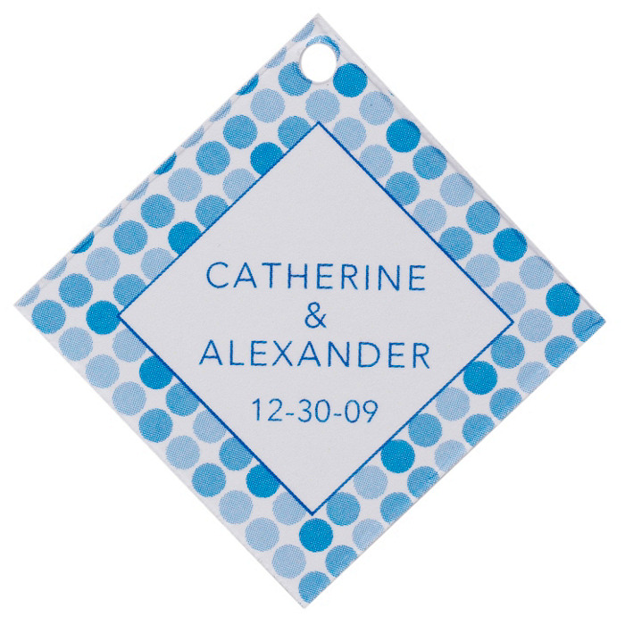 Personalized Favor Tags - Dots (Blue)