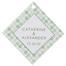 Personalized Favor Tags - Dots (Green)