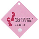 Personalized Favor Tags - Flip Flops (Pink)