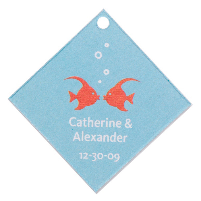 Personalized Favor Tags - Kissing Fish