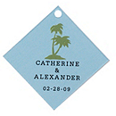 Personalized Favor Tags - Palm Trees (Blue)