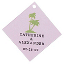 Personalized Favor Tags - Palm Trees (Pink)