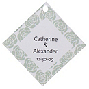 Personalized Favor Tags - Roses (Mint)