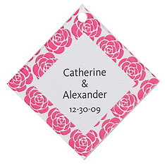Personalized Favor Tags - Roses (Pink)