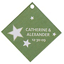 Personalized Favor Tags - Stars (Green)