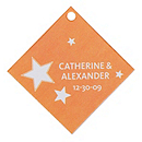 Personalized Favor Tags - Stars (Orange)