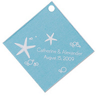 Personalized Favor Tags - Starfish (Blue)