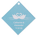 Personalized Favor Tags - Swans (Blue)
