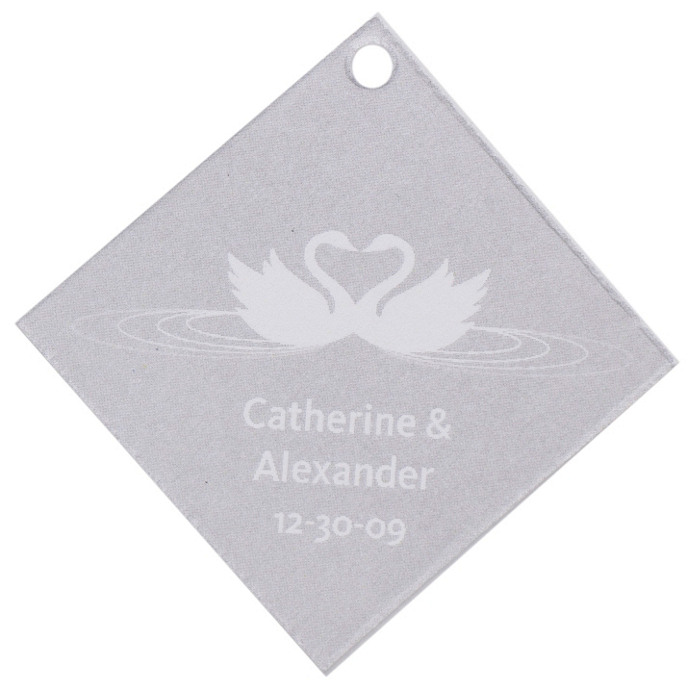 Personalized Favor Tags - Swans (Silver)
