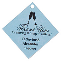 Personalized Favor Tags - Toasting Flutes (Blue)