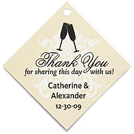 Personalized Favor Tags - Toasting Flutes (Yellow)