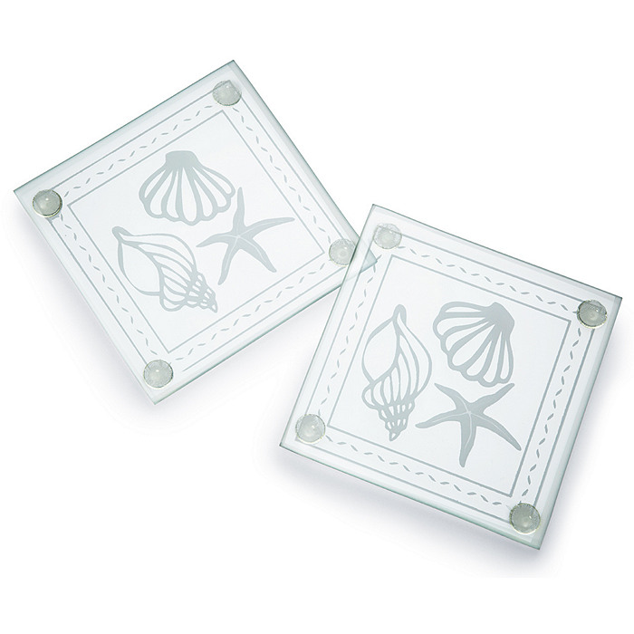 Shell Design Glass Coaster Set Favor