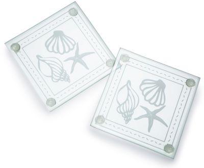 Shell Design Glass Coaster Set Favor