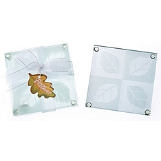 "fall in love"" frosted leaf design glass coaster set"