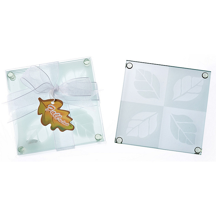 """Fall in Love"" Frosted Leaf Design Glass Coaster Set"