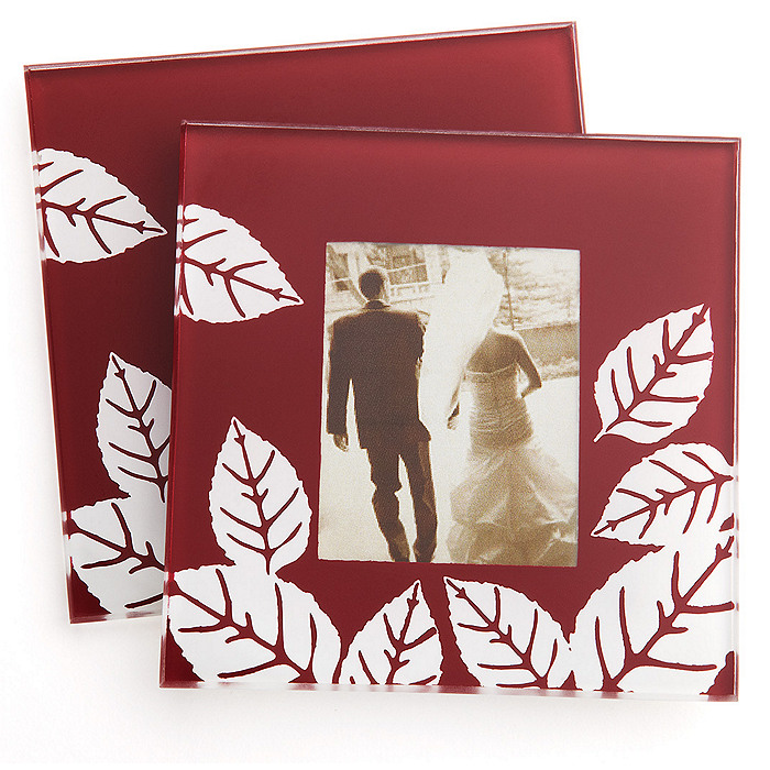 """Fall Impressions"" Glass Photo Coaster Favor Set"