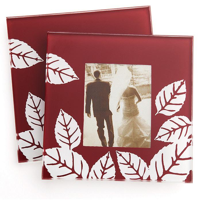 """Fall Impressions"" Glass Photo Coaster Favor Set"
