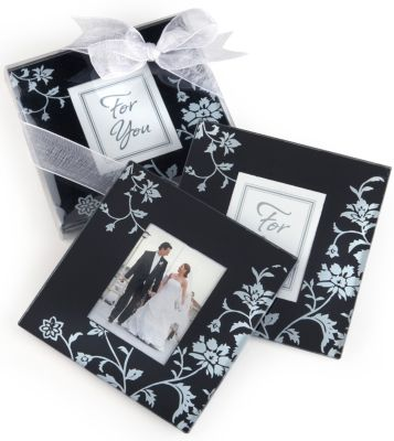 Black & White Floral Glass Photo Coaster Favor Set