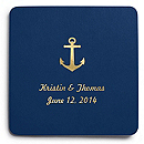 Deluxe Personalized Wedding Coasters - Anchor