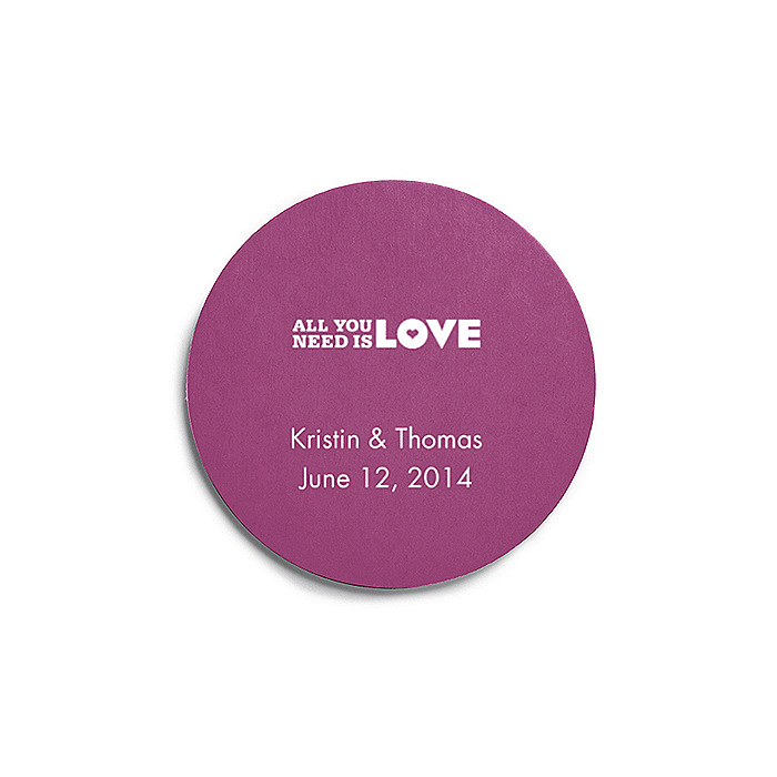 Deluxe Personalized Wedding Coasters - All You Need is Love