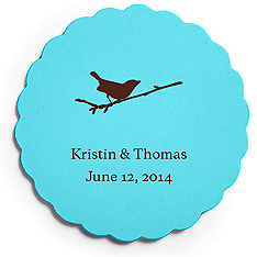 Deluxe Personalized Wedding Coasters - Bird on Branch