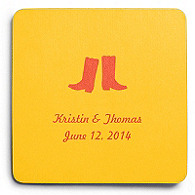 Deluxe Personalized Wedding Coasters - Boots