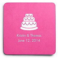Deluxe Personalized Wedding Coasters - Cake