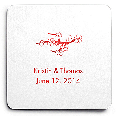 Deluxe Personalized Wedding Coasters - Cherry Blossom