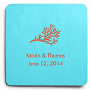 Deluxe Personalized Wedding Coasters - Coral