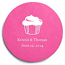 Deluxe Personalized Wedding Coasters - Cupcake